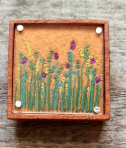 Square Autumnal Sunset Meadow Brooch