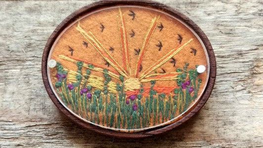 Autumnal Sunset Meadow Brooch
